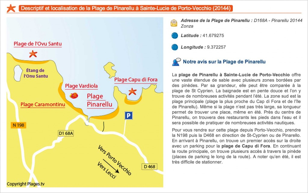 Descriptif de la plage de Pinarellu